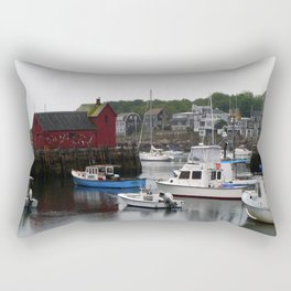Rockport Inner Harbor With Lobster Fleet And Motif No.1 Rectangular Pillow