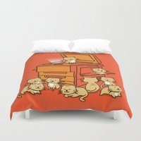 orange Duvet Covers featuring The Original Copycat by Picomodi