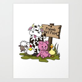 Friends Not Food Animal Rights Pig Cow present Art Print