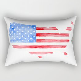 Watercolor USA Flag and Map Rectangular Pillow