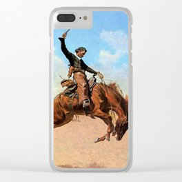 """Frederic Remington Western Art """"The Buck Jumper"""" Clear iPhone Case"""