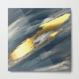 Navy Blue Paint Brushstrokes Gold Foil Abstract Texture Metal Print