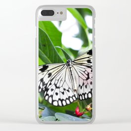 Black and White Butterfly with Red Flowers Clear iPhone Case