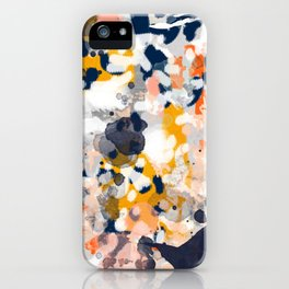 Stella II - Abstract painting in modern fresh colors navy, orange, pink, cream, white, and gold iPhone Case
