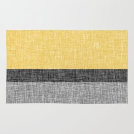 Yellow Grey and Black Section Stripe and Graphic Burlap Print Rug