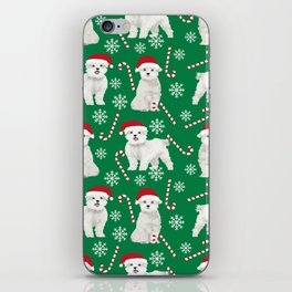 Maltese christmas festive dog breed holiday candy canes snowflakes pattern pet friendly dog art iPhone Skin