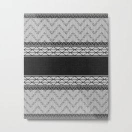 African Wax Print in Black and White Metal Print