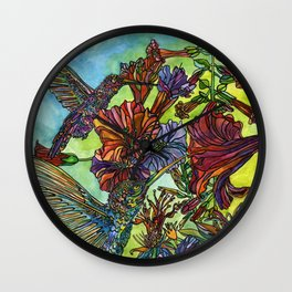 Two Hummingbirds Wall Clock