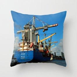 Container Ship Throw Pillow