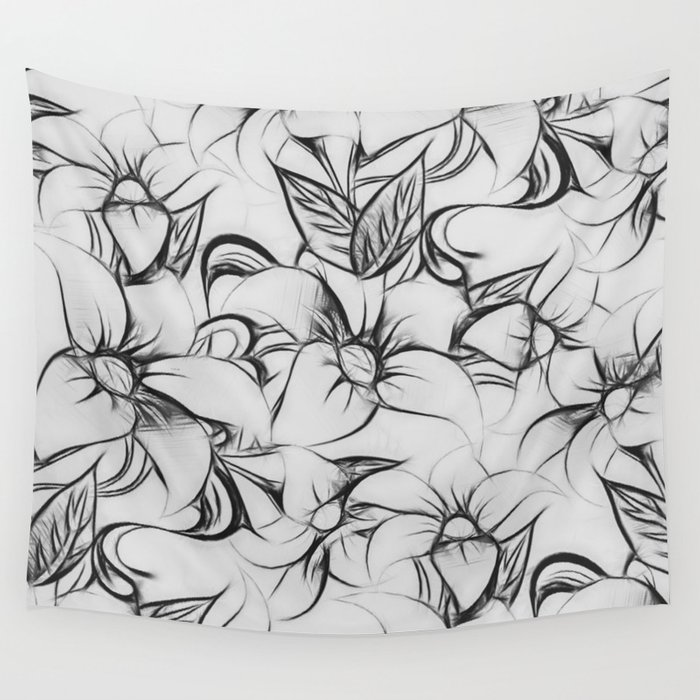 Black And White Pencil Sketch Fl Pattern Wall Tapestry