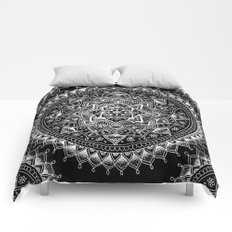 White Flower Mandala on Black Comforters