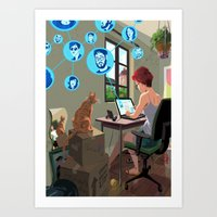 laptop Art Prints featuring Laptop by Josue Noguera