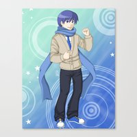 vocaloid Canvas Prints featuring Kaito - VOCALOID Gakuen by Tenki Incorporated
