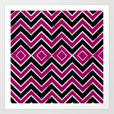 Pink Black Tribal Chevron Art Print