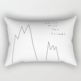 Which Mountain Will You Climb? - Life challenge Dreamer Motivational Quote Illustration Rectangular Pillow