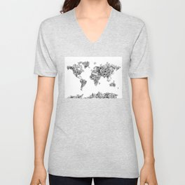 floral world map black and white Unisex V-Neck