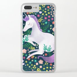Unicorn Meadow Clear iPhone Case