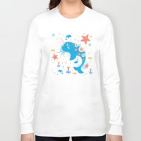 narwhal Long Sleeve T-shirts featuring Narwhal & Babies  by Carly Watts