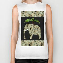 Elephant under a palm tree . Biker Tank