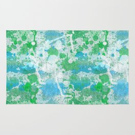 Abstract Paint Splatters Blue and Green Rug