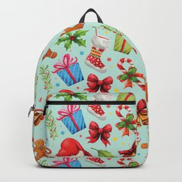 Teal red green floral Christmas pattern Backpack