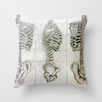 bones Throw Pillows featuring Bones by Kristen Willsher