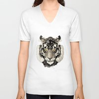 tiger V-neck T-shirts featuring Tiger by Rafapasta