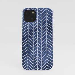 Navy Blue Watercolor Herringbone Pattern (navy blue/white) iPhone Case