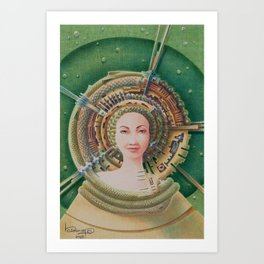 """Portrait with snake pet"" Art Print"