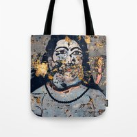 hindu Tote Bags featuring Hindu mural by Rick Onorato