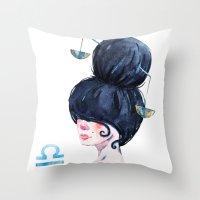 libra Throw Pillows featuring Libra by Aloke Design