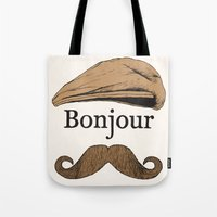 bonjour Tote Bags featuring Bonjour by Jacob Waites