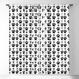 Dog Paws, Dog Traces, Animal Paws - Black White Blackout Curtain