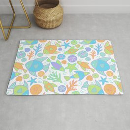 Colorful Tropical Fish Pattern / Coastal Decor Rug
