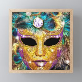 Golden Carnival Mask Framed Mini Art Print