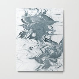 Haru - spilled ink modern abstract marble painting indigo ink splash swirl ocean waves water sea Metal Print