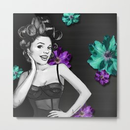 Retro Pinup Girl Hair Rollers & Flowers Metal Print