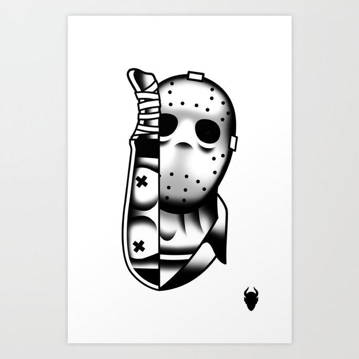 Halloween Jason Tattoo Flash Art Print by derickjames | Society6