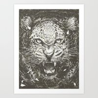 leopard Art Prints featuring LEOPARD by Stefania Grippaldi - IDEAS FLY studio