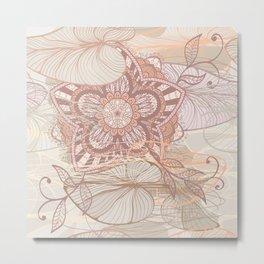 Hand Drawn Floral & Mandala 09 Metal Print