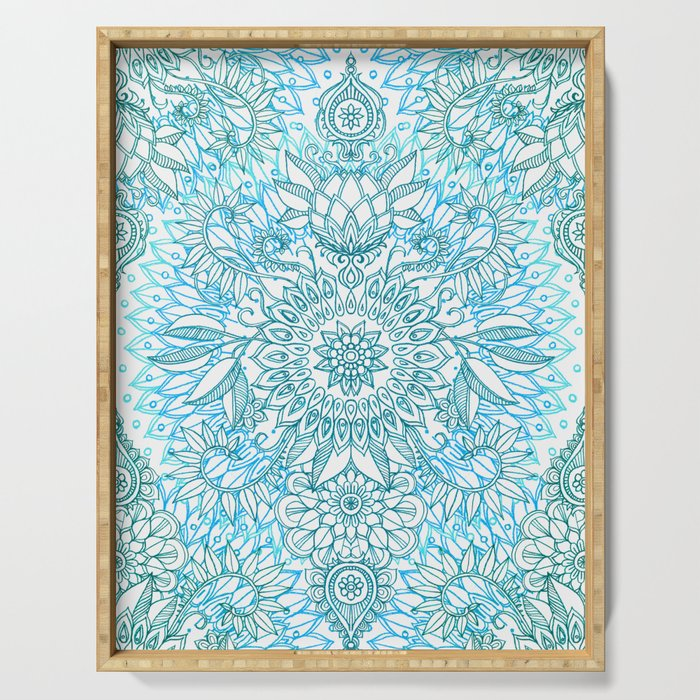Turquoise Blue, Teal & White Protea Doodle Pattern Serving Tray