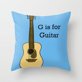 G is for Guitar Throw Pillow