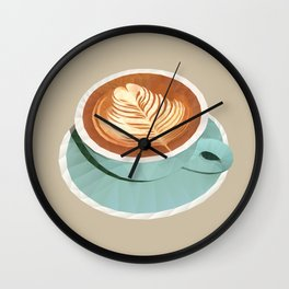 Coffee with Latte Art Polygon Art Wall Clock