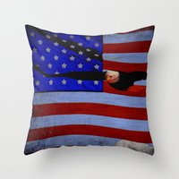 america Throw Pillows featuring America!!  by Alaskan Momma Bear