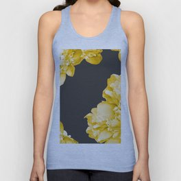 Yellow Flowers On A Dark Background #decor #society #homedecor Unisex Tank Top