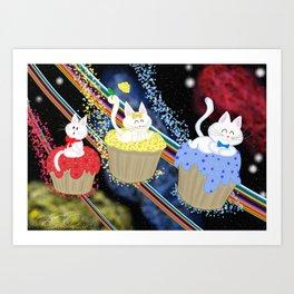 Cupcakes kitties in space! Art Print