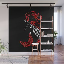 Tribal Scuba Flag Mermaid Wall Mural