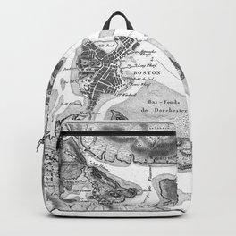 Vintage Map of Boston Harbor (1807) BW Backpack