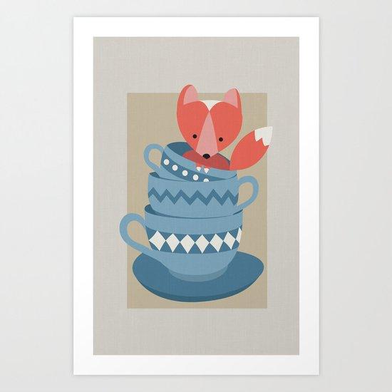 fox in a cup Art Print
