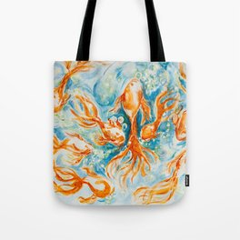 Sparkly Gold Goldfish watercolor by CheyAnne Sexton Tote Bag